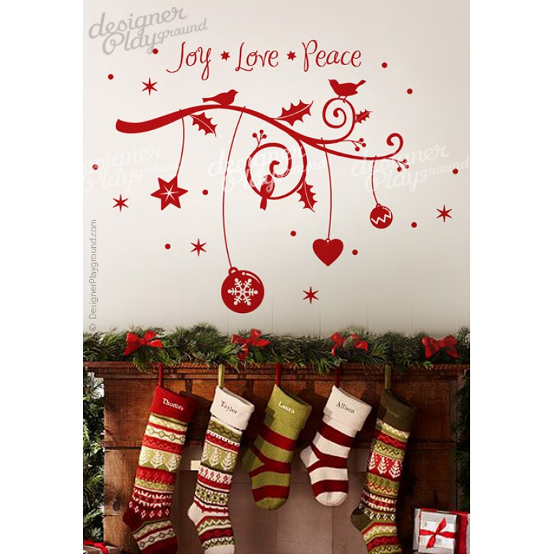 Xmas Branch With Words Wall Decal