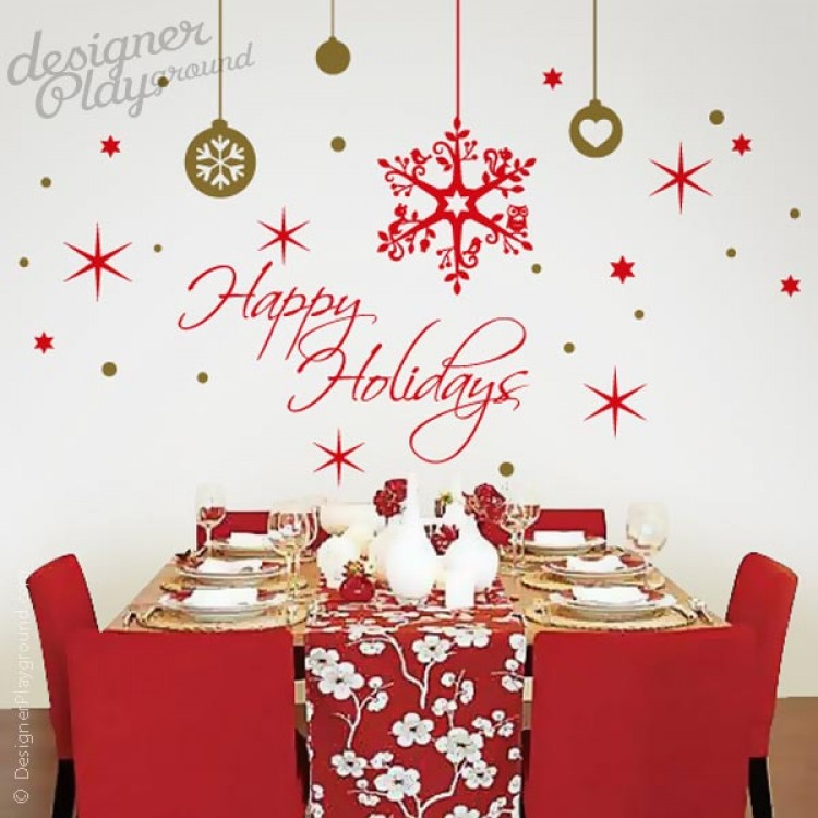 happy holidays snow flakes wall decal ornament christmas holiday vinyl sticker decal wall art