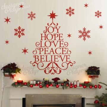 Joy Hope Love Peace Believe Christmas Tree