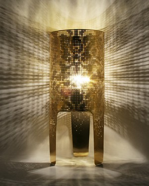 Shadow Lamp Wallpaper in Gold