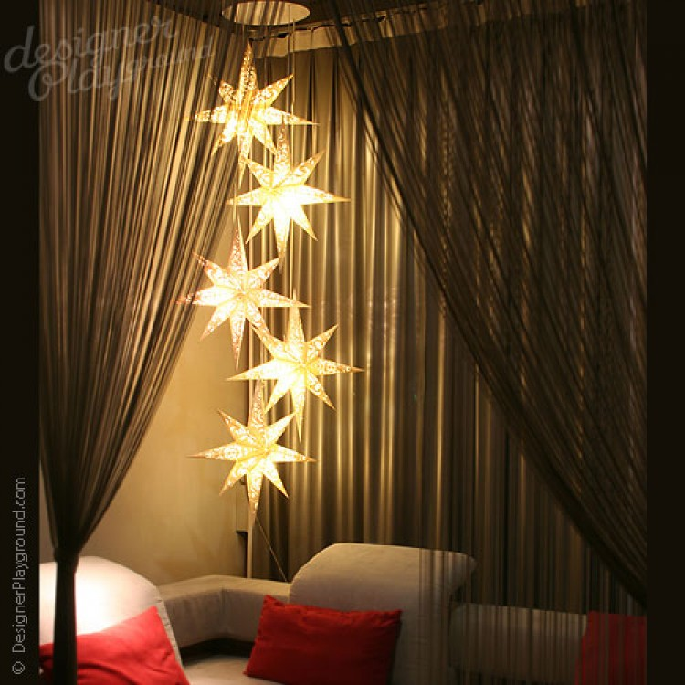Paper Star Magical Night White Set of 5 & Star Magical Night White Set of 5 azcodes.com