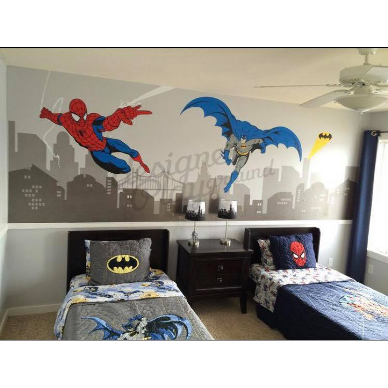... Batman And Spiderman Super Hero Themed Room Wall Decal ...