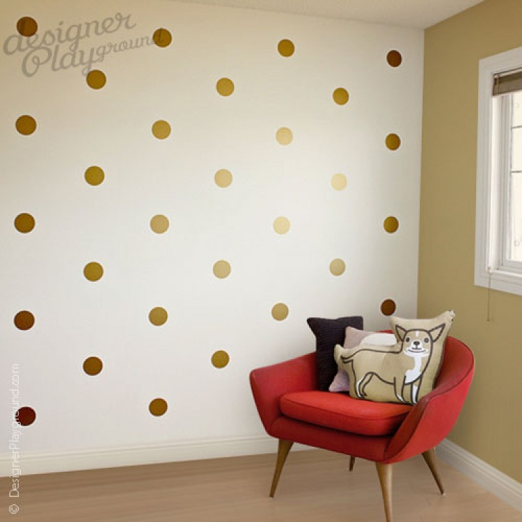 Merveilleux Dot Pattern Wall Decal   Gold Polka Dot Wall Decals