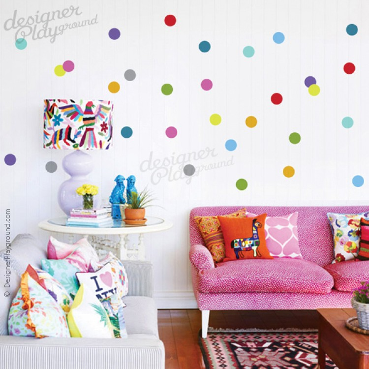 Colourful Polka Dots Wall Decal Part 37