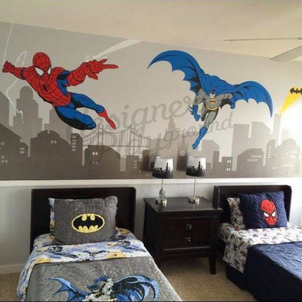 Batman and Spiderman Super Hero Themed Room Wall Decal