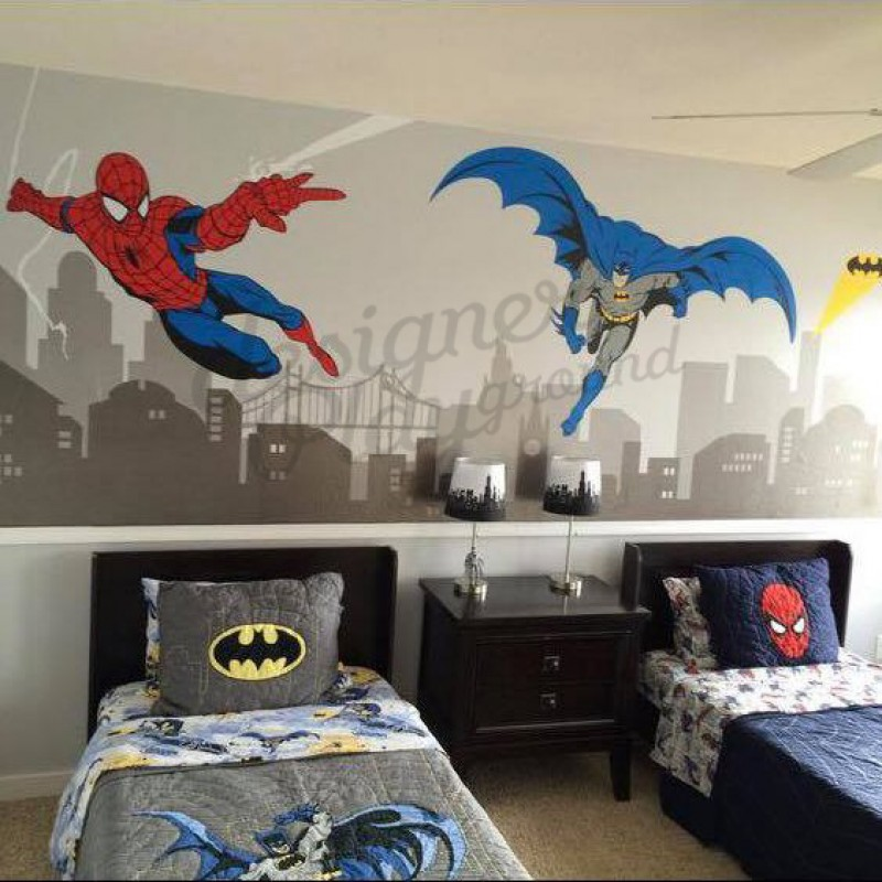New Batman And Spiderman Super Hero Themed Room Wall Decal