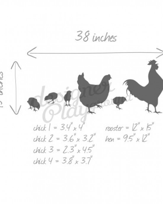 Chicken Family Silhouette Wall Decals