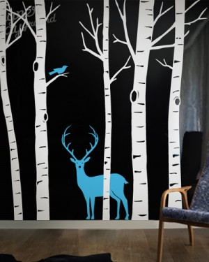 Birch Trees with Deer and Bird