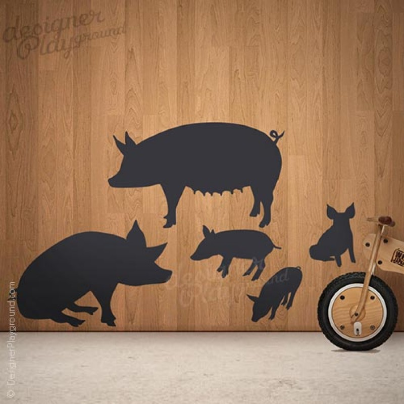 Pig Family Silhouette Wall Decal