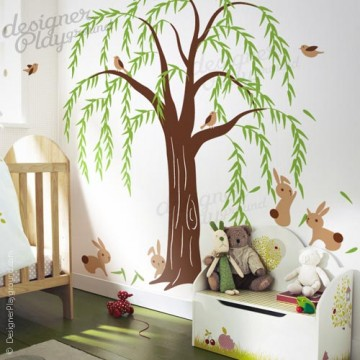 Willow Tree with Rabbits and Birds