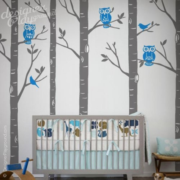 Birch Forest with Owls and Birds