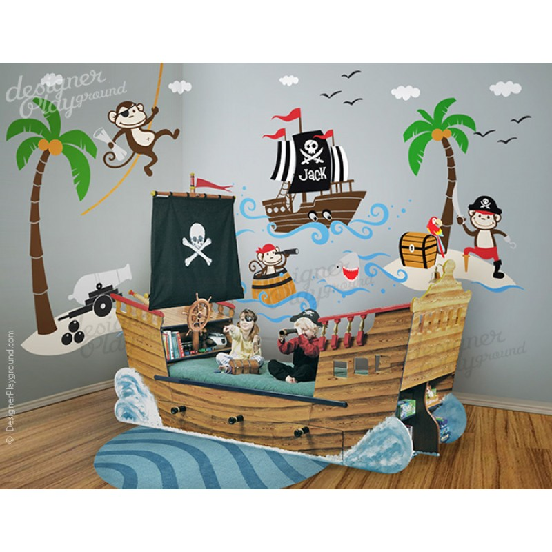 Pirates Kids Wall Decal: Captain Jack And The Treasure Island Pirates Wall Decal