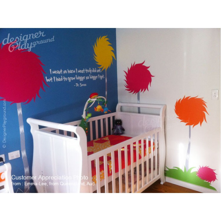 Lorax truffula tree wall decals children wall decals for Dr seuss wall mural decals