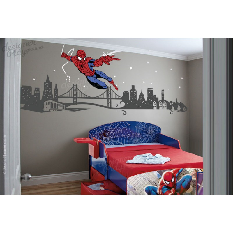 Spiderman Slinging Web With Cityscape Spiderman Slinging Web With Cityscape  ...
