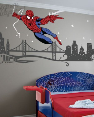 Spiderman Slinging Web with Cityscape