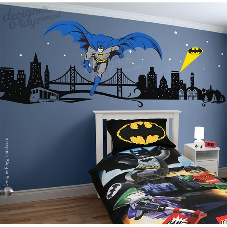 Fascinating 30 superhero wall murals inspiration of for Batman mural wallpaper uk