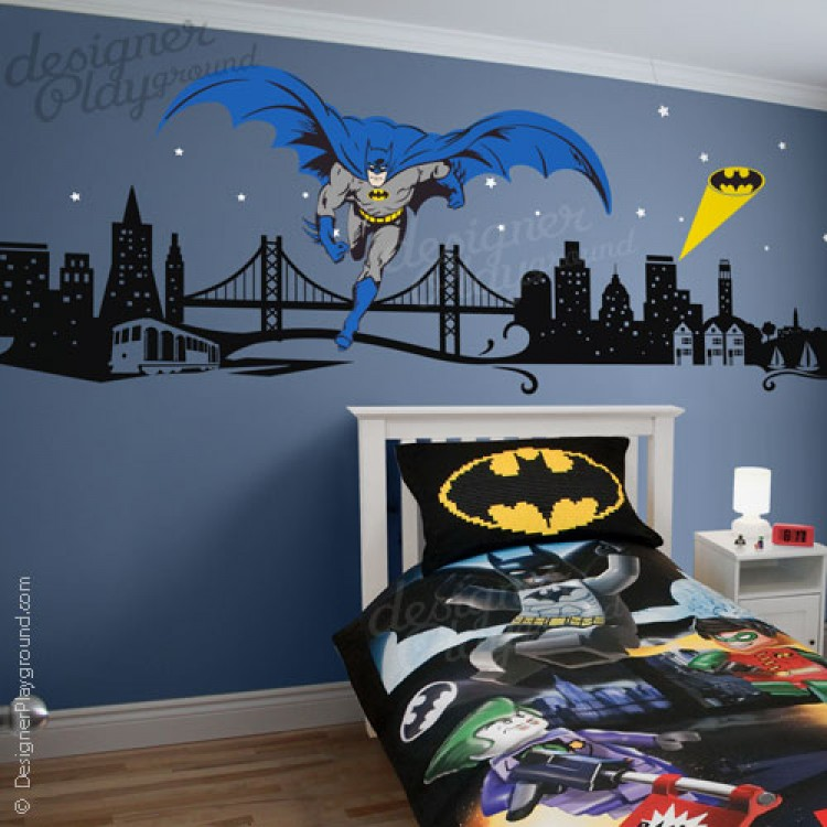 Batman with cityscape wall decal for Batman wall mural decal