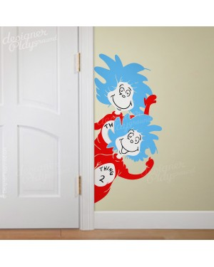 Thing 1 Thing 2 Peeking from side of Door Dr Seuss Character