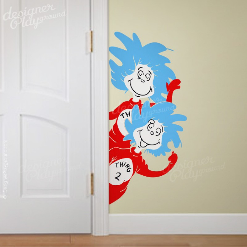 & Thing 1 Thing 2 Peeking from side of Door Dr Seuss Character