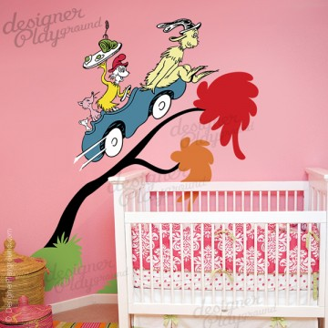 Green eggs and ham sam in a carm dr seuss character wall for Dr seuss wall mural decals