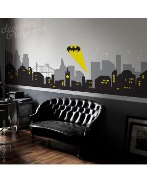 Large Gotham City Night Scene with Batman Light