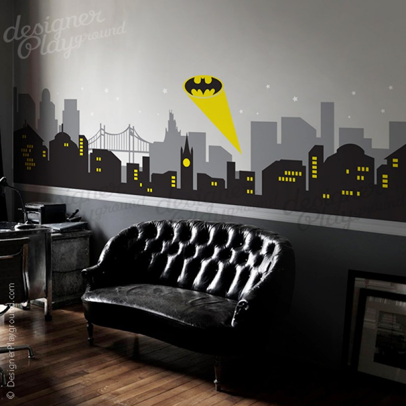 Gotham city night scene with batman light wall decal large set for Batman wall mural decal