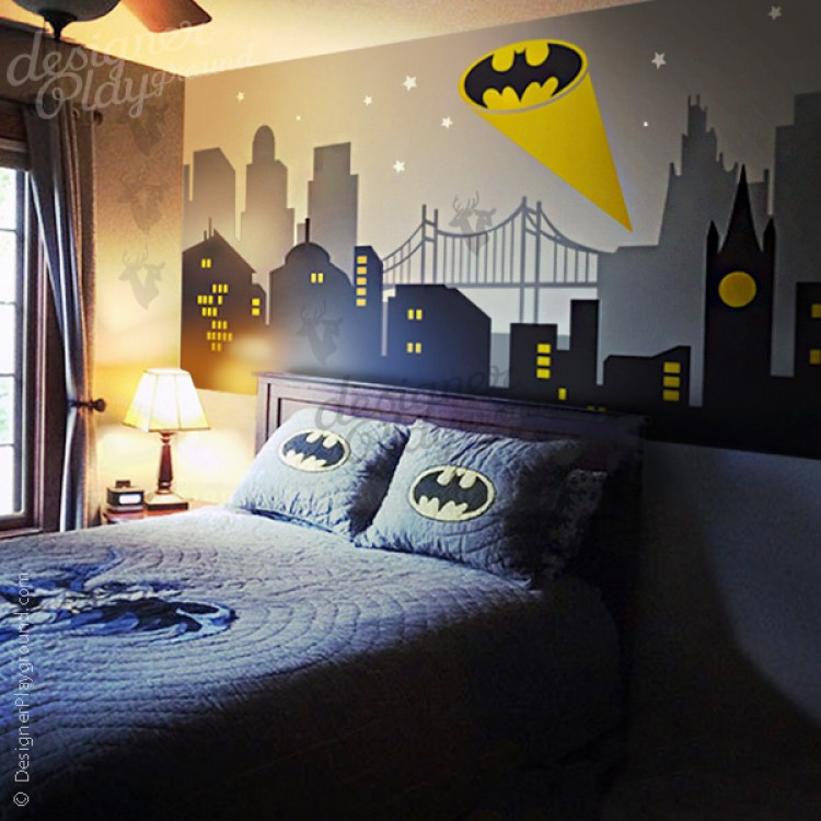 Gotham City Night Scene with Batman Light Wall Decal