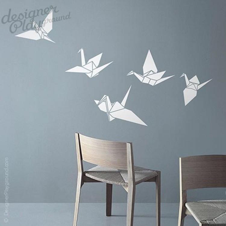 origami cranes wall decal. Black Bedroom Furniture Sets. Home Design Ideas