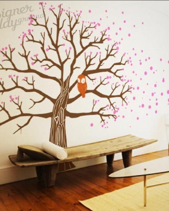 Owl On Blossom Tree