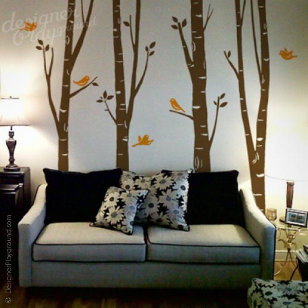 Birch Tree with Cute Birds