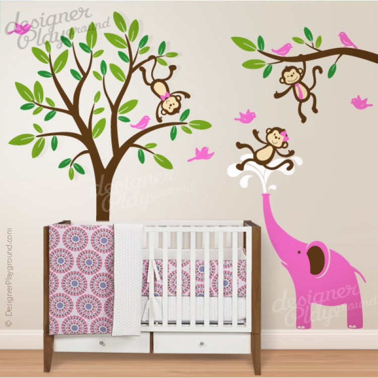 monkeys having fun with elephant. Black Bedroom Furniture Sets. Home Design Ideas