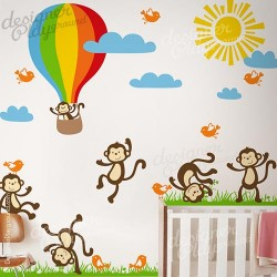 Funny Monkeys with Hot Air Balloon