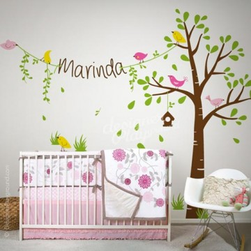 Birdie Tree with Name for Penelope Bedding