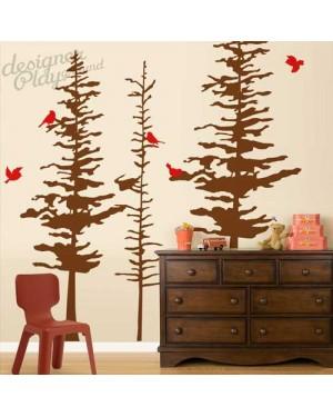 Pine Trees with Birds