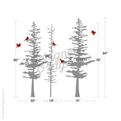 Pine Trees with Birds