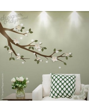 Magnolia Branch with 3D Flowers & Leaves