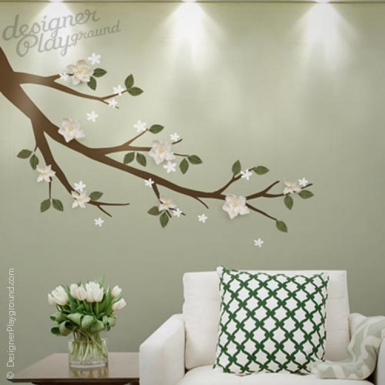Branch With D Flowers Leaves - Wall decals leaves