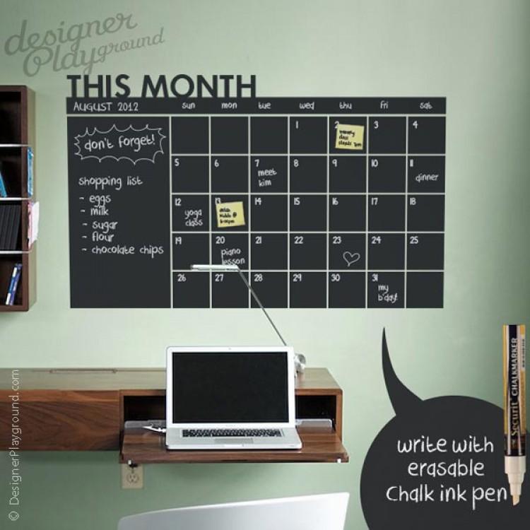 Chalkboard Calendar Wall Decal : Daily chalkboard wall calendar