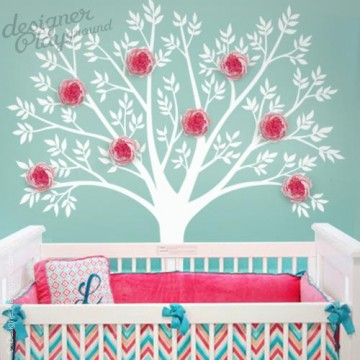 Tree with 3D Peony Flowers