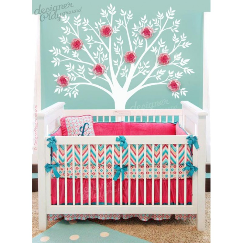Tree with 3d peony flowers for 3d baby room design