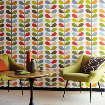Multi Color Leaves on Stem Wallpaper - Peel & Stick