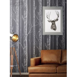 White Birch Tree On Dark Grey Background Peel Amp Stick