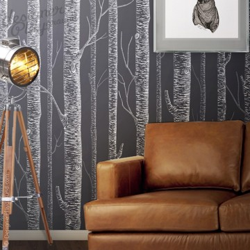 White Birch Tree On Dark Grey Background Peel & Stick Wallpaper