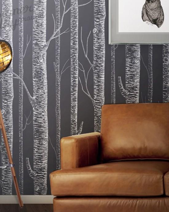 White Birch Tree On Dark Grey Background Peel Stick Wallpaper