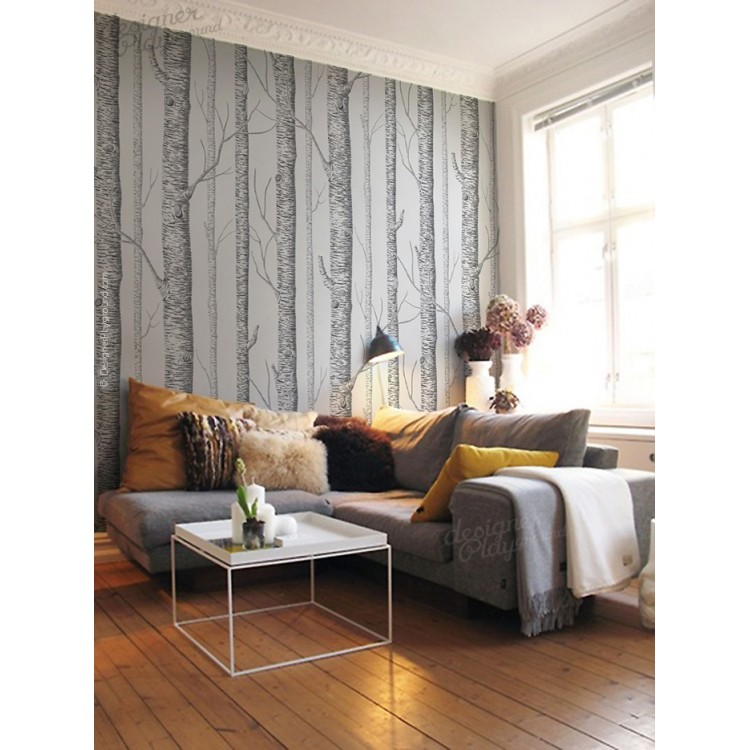 Birch trees wallpaper peel and stick for Tree wallpaper living room