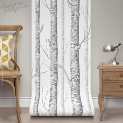 White Birch Tree On Dark Grey Background Peel & Stick Wallpaper