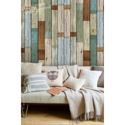Scrap Wood Wallpaper Peel & Stick Removable