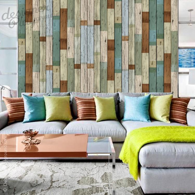 removable scrap wood wallpaper peel stick. Black Bedroom Furniture Sets. Home Design Ideas